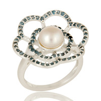 925 Sterling Silver Natural Pearl And Blue Topaz Gemstone Flower Cocktail Ring