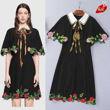 Ecombird Runway Dress Black Summer Women's Luxury Sequin Embroidery Vintage Dresses Cloak Sleeve Floral New Fashion