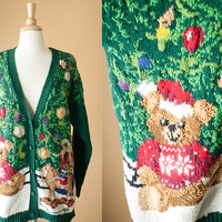Tacky Xmas Sweater | Teddy Bear Holiday Jumper Ugly Christmas Sweater Preppy Novelty Winter 80s Sweater Slouchy Cosby Boxy 90s Cardigan