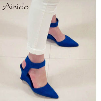 AINIDO Women Wedges Fashion Ankle Hook Loop Pointed Toe Pumps Sexy Sandal High Heels Black Blue Orange White Women Shoes Summer