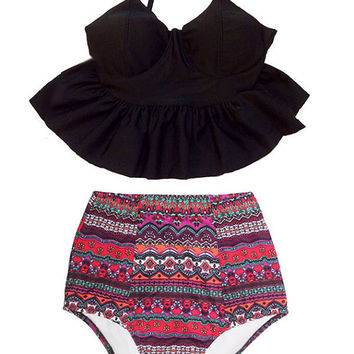 Black Long Peplum Hem Top and Burgundy Art High waisted waist Shorts Bottom Bikini Swimsuit Swimwear Beach Swim wear Bathing suit dress S M