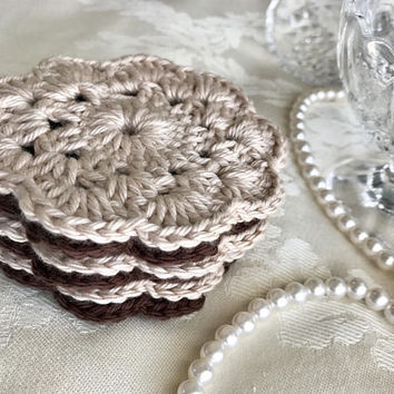 6 Brown Crochet Flower Coasters, Dark Brown Coasters, Light Brown Coasters