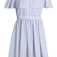 Blue Stripe Off Shoulder Ruffle Open Back Skater Dress