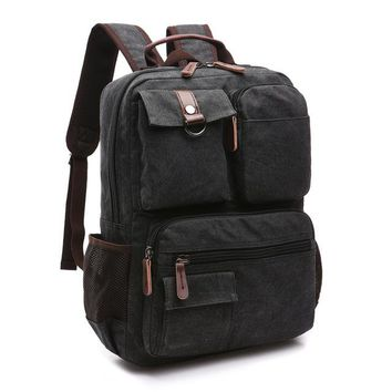 Cool Backpack school New Men's Double-shoulder Bag, Man's Cool Fashion, Medium Size Student Canvas Leisure Bag, Computer Backpack and Travel Bag AT_52_3