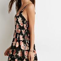 Floral Lace-Up Babydoll Dress