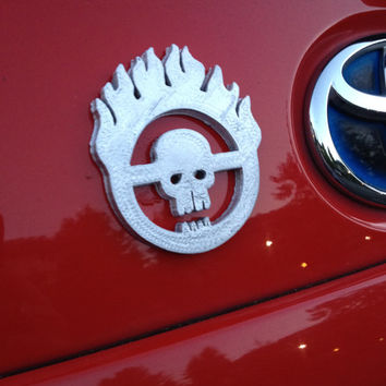 3D printed silver Immortan Joe Mad Max Fury Road car decal/logo/magnet, great gift for nerd girl or boy