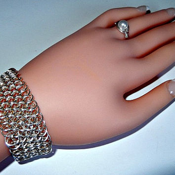 Dragon scale chainmaille bracelet - silver / gold - silver plated - scale mail bracelet - chainmail bracelet