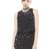 Black Butterfly Printed Sleeveless Chiffon Dress