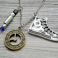 10th Doctor Time Lord necklace: blue sonic screwdriver & Converse Chuck Taylor All Star sneakers necklace