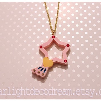 CLEARANCE Magical Angel Creamy Mami Lumina Star Wand Inspired Laser Cut Acrylic Necklace or Phone Strap for Mahou Kei, Magical Girl Fashion