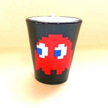 Pac Man Soy Candle - Blinky the Red Ghost - Shot Glass Candle - CHOICE OF SCENT