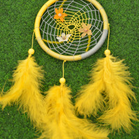 Wall hanging Yellow and Grey Dream catcher/Dreamcatcher with Amazonite beads and plastic flowers, wall decor, bedroom, nursery