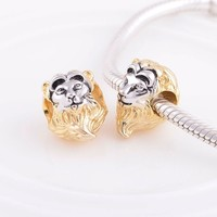GW Lion Charms beads made from 925 sterling silver fit pandora style bracelets for wo golden plated re jewelry No70 lw E004