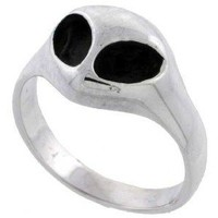 Sterling Silver Alien Face Ring (Available in Sizes 6 to 10) size 6: Jewelry