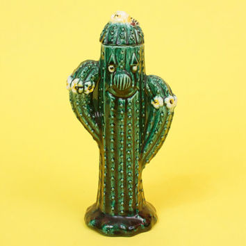 Vintage Anthropomorphic Cactus Margarita Straw Holder / Jar Southwestern and Very Kitsch
