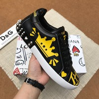 Dolce&Gabbana DG White Black Yellow Print Low-Top Sneakers - Best Deal Online