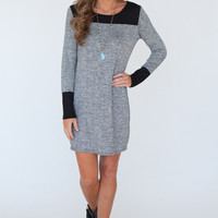 Long Sleeve Two Tone Knit Tunic Dress - Black/Heather Charcoal