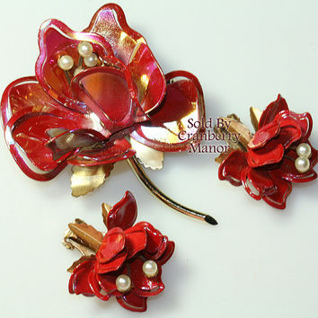 Pakula Brooch Earrings, Flower Pin, Floral Figural, Red Enamel Metal & Pearl Demi Parure, Vintage Fashion, Designer Signed, Costume Jewelry