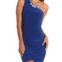 One Shoulder Ruched Bodycon Dress by Charlotte Russe