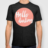 Coral Hello Darling Typography T-shirt by Allyson Johnson