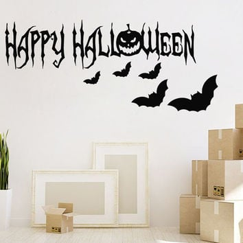 Halloween Wall Decal Holiday Stikers Happy Halloween Bats Vinyl Letters Home Decor Living Room Pumpkin Art Mural Interior Design KY22