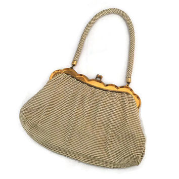 Whiting and Davis Silver Mesh Purse - Ivory and Gold, Scalloped Frame, Cream Metal Mesh