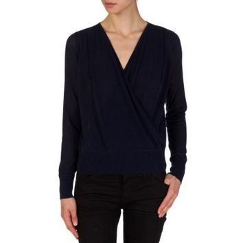Diane Von Furstenberg Navy Cross Over Knitted Top