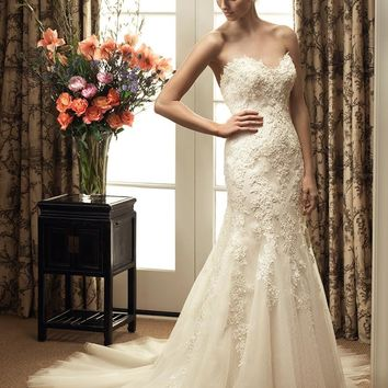 Casablanca Bridal 2214 Strapless Lace Fit & Flare Wedding Dress