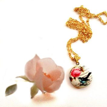 Romantic Spring Summer - Song Bird and Flowers / Roses / Vintage Style Print / Photo Locket Cameo Charm/ 16k Gold Plated Statement Necklace