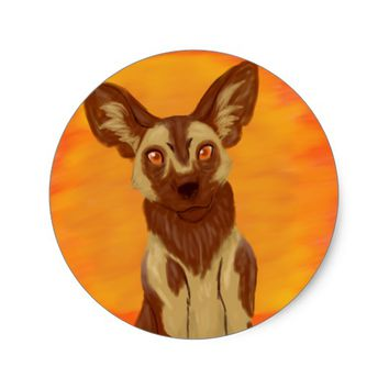 African Wild Dog Classic Round Sticker