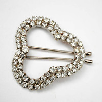 Rhinestone hair clip - silver Clover shape  barrette -  bobby pin - Wedding bride