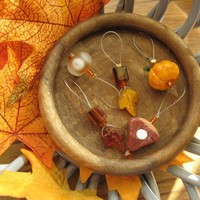 Give Thanks for the Harvest, Pumpkin and Leaves Bead Stitch Markers