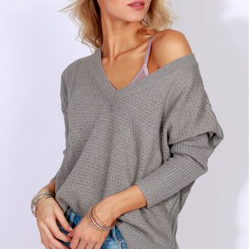 Through the Night Knit Sweater Grey