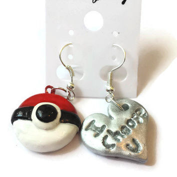 Heart Pokemon Pokeball Earrings, I choose you jewelry, Japanese Accessories, Polymer Clay Pokemon, Gotta catch'em all, Heart Pokeball