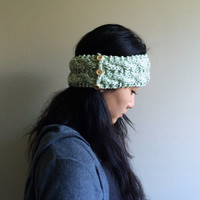 Knitted Double-Cabled Headband / Ear warmer (Green Twistl)