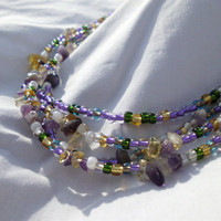"Multi Color Beaded Necklace with Gemstone Chips, ""Willow"""