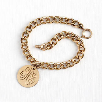 Vintage Charm Bracelet - Rosy Yellow Gold Filled Mid Century Round Pendant Jewelry - Retro 1950's Women's Letters EHG Initials Binder Bros