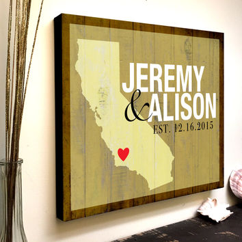 Personalized Wedding State Sign, Custom Wood Sign, Wedding Established, State Sign, Printed on Wood