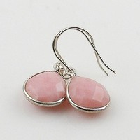 Pink Opal Faceted Pear Sterling Silver Earrings