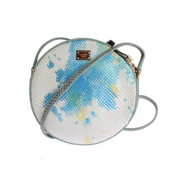 Dolce & Gabbana Blue White GLAM Snakeskin Shoulder Clutch Bag