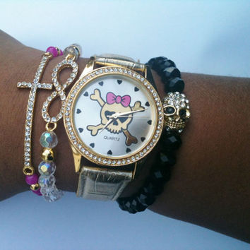 Sassy But Sweet Stack Collection Girly Skull and Crossbones Set of 4 Arm Candy Bracelets Watch Included