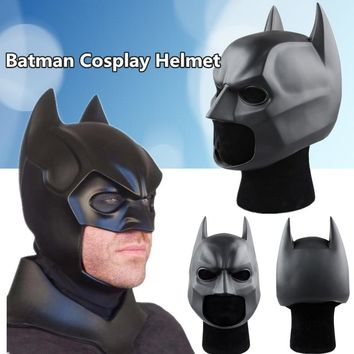 Movie Figure The Dark Knight Batman Helmet Cosplay Rubber Mask Halloween Props (Color: Black)