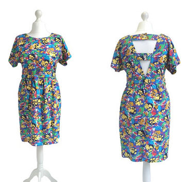 1980's Dress - Vintage 80's Dress - Multi Colour Graphic Print Dress - Summer Dress