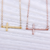 """Sideways Cross Necklace, Layered Necklace, Rose Gold Cross Necklace, Cross Necklace,Gold Cross necklace,Bridesmaid Gift, CZ necklace,""""Neicea"""