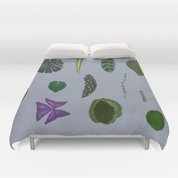 A non-scientific botanical investigation of the indoor plant.  Duvet Cover by Olivia James
