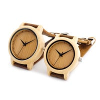 2016 Original BoBoBird Brand Lovers Wooden Bamboo Watch Quartz Watch Real Leather Strap Watches for Men and Women with Gift Box