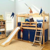 Camelot Castle Low Loft Bed with Slide by Maxtrix Kids