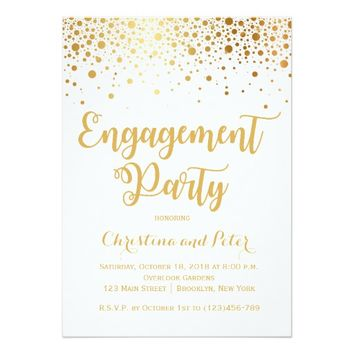 Gold Foil Faux Dots Engagement Party Invitation