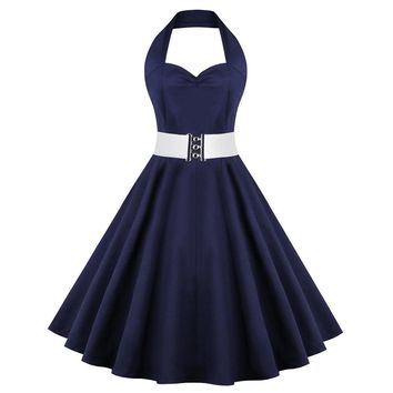 Retro Halter Sweetheart Neck Ball Party Skater Dress