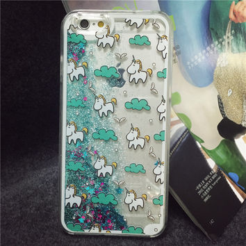 2016 New Arrival Glitter Stars Dynamic Liquid Quicksand Cute Horse Pattern Back Cover Phone Case for iphone 6 plus 5.5 inch